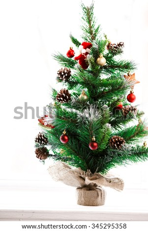Decorated Christmas tree. Beautiful  - stock photo