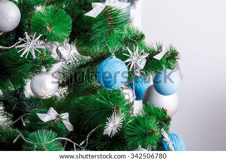Decorated Christmas tree. Beautiful living room  - stock photo
