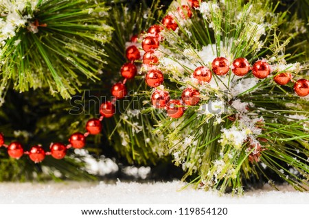 decorated christmas tree close up - stock photo