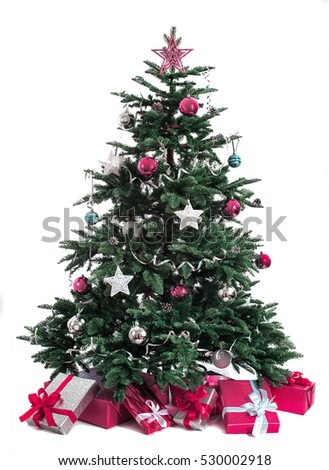 decorated Christmas tree isolated on white background