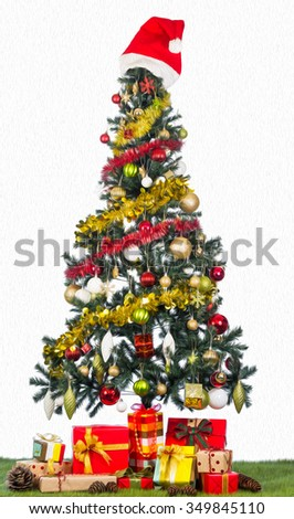 decorated Christmas tree isolated on white with oil paint filter