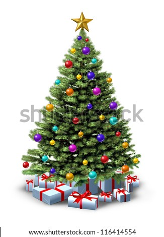 Decorated Christmas tree of natural green pine with ornate decorative balls and gifts with red ribbons and bows as a  seasonal symbol of winter celebration and festive new year on a white background. - stock photo