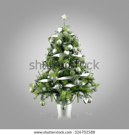 Decorated Christmas tree on gray background - stock photo