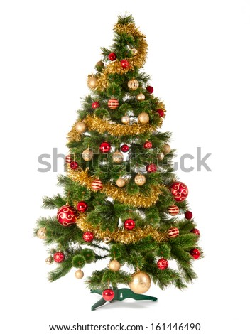 Decorated Christmas tree on white background, card template - stock photo