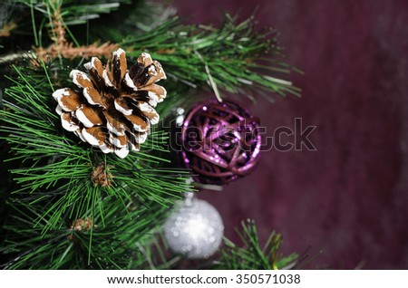 Decorated Christmas tree, sparkling and fairy background