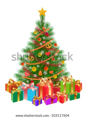 decorated christmas tree wirh presents isolated - stock photo
