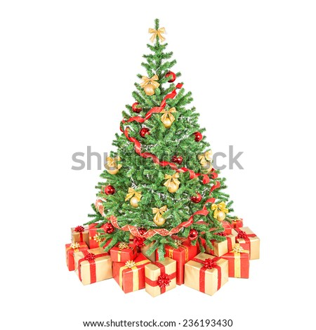 Decorated christmas tree with balls, bows and gift boxes red-golden colors isolated on white background - stock photo