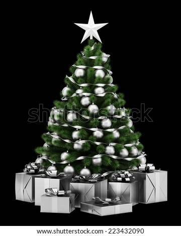 decorated christmas tree with gift boxes isolated on black background - stock photo
