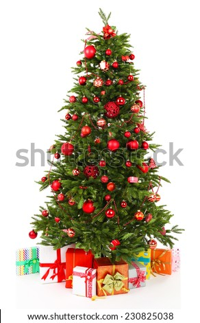 Decorated Christmas tree with gifts isolated on white - stock photo