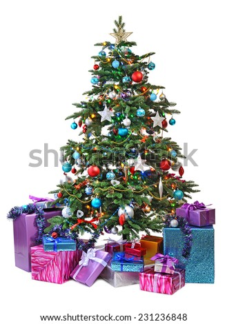 decorated Christmas tree with gifts isolated on white background