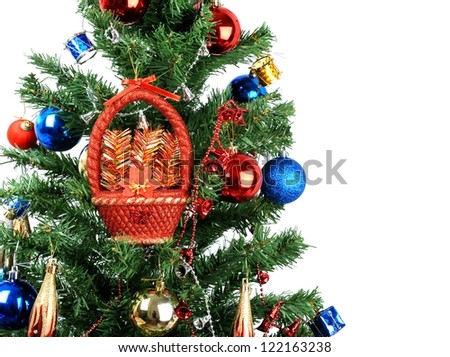 Decorated Christmas tree with Isolated Background - stock photo
