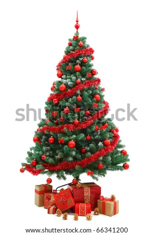 Decorated Christmas tree with red ornaments and plenty of gifts - stock photo