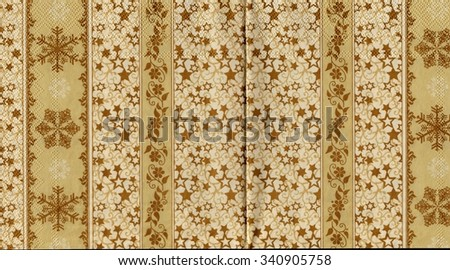 Decorated Christmas wrapping paper. Vintage shabby background. - stock photo