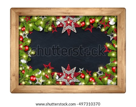 decorated christmas xmas blackboard chalkboard with wood frame fir branches christmas decoration red silver