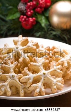 Decorated cookies in festive setting with decoration - stock photo