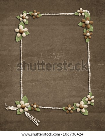 decorated cord ribbon strip frame - stock photo