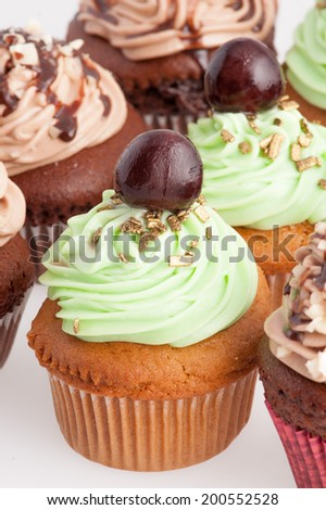 Decorated cupcakes - stock photo