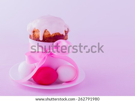 Decorated easter cakes and eggs  in pink pastel colors. Selective focus. - stock photo