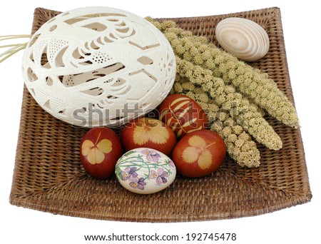 Decorated easter eggs in the basket. - stock photo