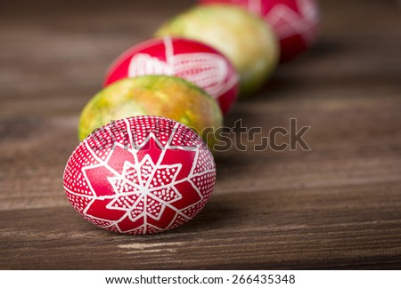 Decorated Easter eggs. Shallow depth of field - stock photo
