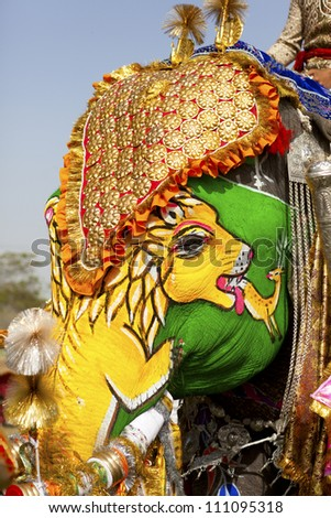 Decorated elephant at the annual elephant festival in Jaipur, India. - stock photo
