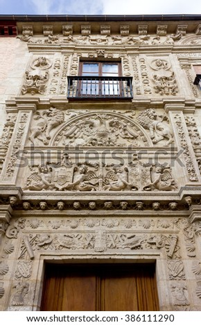 Decorated Facade of a Historic Building in Granada, Spain - stock photo