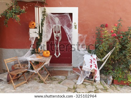 Decorated for the holiday Halloween - stock photo