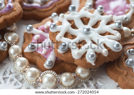 Decorated Gingerbread, selective focus - stock photo