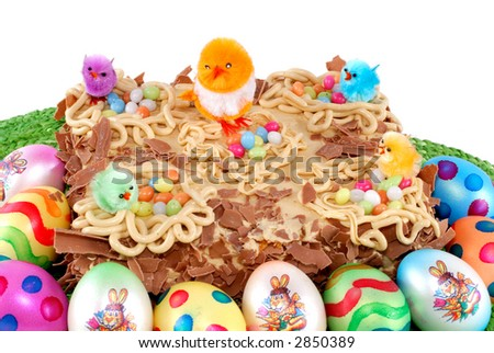 Decorated gourmet pastry with  whipped cream, easter tart. Nutrition, food, sweets concept. copy space