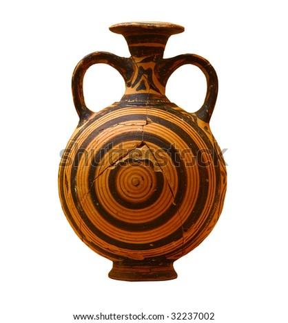 Decorated greek vase isolated on white background - stock photo