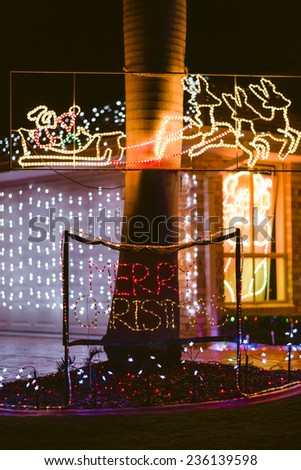 Decorated house facade for Christmas Holidays - stock photo