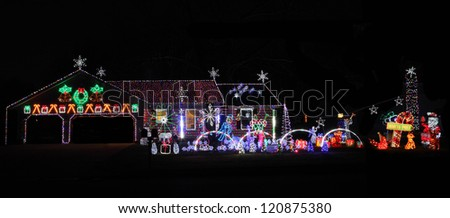 Decorated House with lights Holidays Season Thanksgiving, Christmas and New year - stock photo