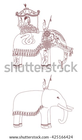 Decorated Indian Elephant contour. King and servants on elephants