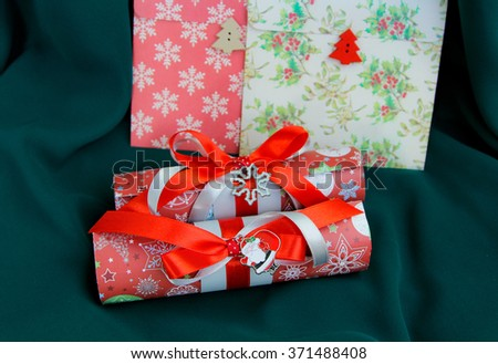 Decorated letters to Santa, or gift boxes