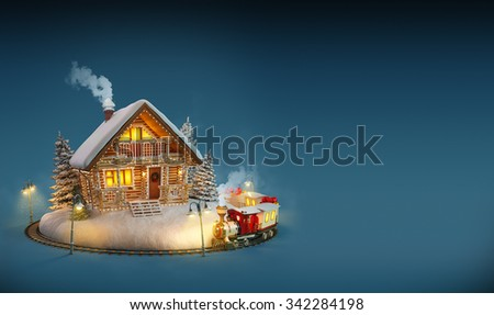 Decorated log house with christmas lights  and magical train on blue background. Unusual Christmas illustration - stock photo