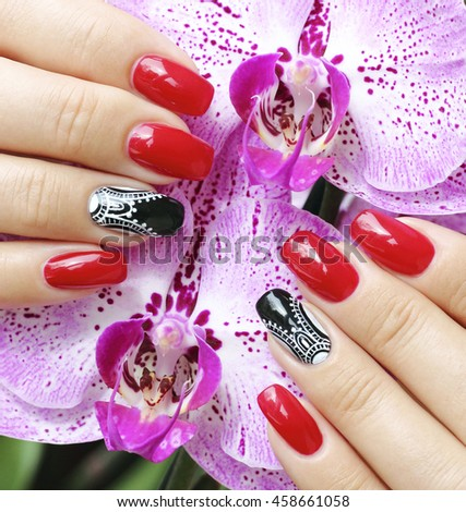 Decorated nails - stock photo