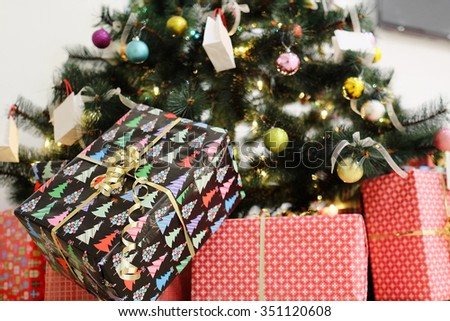 decorated new year tree in the banquet hall - stock photo