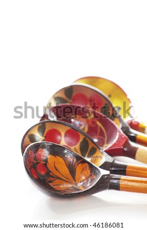 Decorated Russian spoons - stock photo