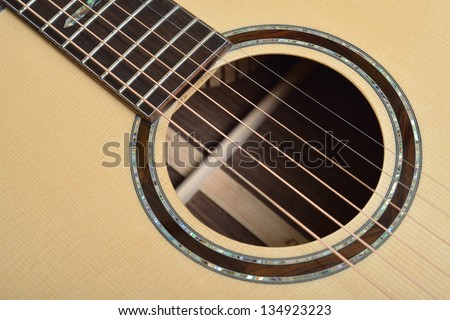 Decorated Sound hole of acoustic guitar