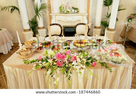 decorated table - stock photo