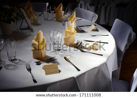 decorated table at the wedding - stock photo
