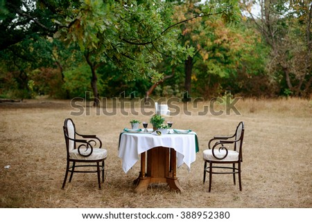 decorated table for two with floral composition on a background of park - stock photo
