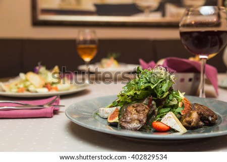 decorated table in restaurant - stock photo