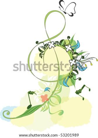 Decorated treble clef - stock photo