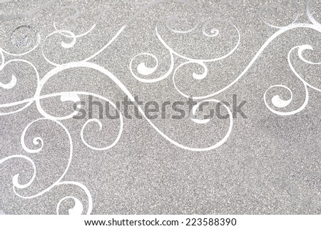 Decorated wall and wrapping paper with silver ornaments - stock photo
