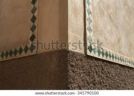 Decorated wall in Marrakech, Morocco - stock photo