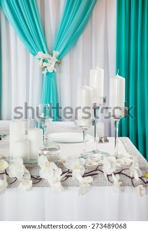 Decorated wedding table. - stock photo