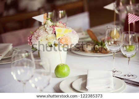 decorated wedding table in the restaurant
