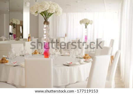 decorated with flowers bouquet wedding table