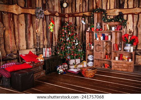 decorated xmas tree with gift - stock photo
